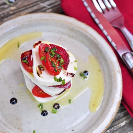 Dorie Greenspan's Mozzarella, tomato and strawberry salad