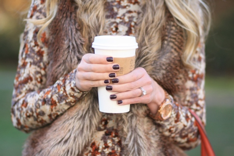 brown-faux-fur-vest-floral-print-dress-essie-carry-on-nail-polish